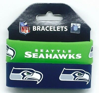 NFL Seattle Seahawks Rubber Silicon Bracelet Wristband 2-Pack
