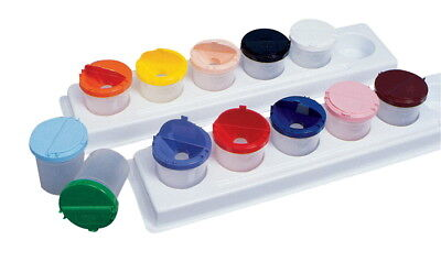 Jack Richeson Neatness Plastic Paint Cup Set with (2) Trays, 8 oz, Assorted