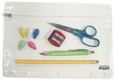 School Smart Vinyl Zippered Ring Binder Pouch, 7 x 10 in, Clear Vinyl, Pack of