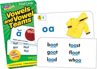 Trend Vowels and Vowel Teams Flash Cards - Set of 72