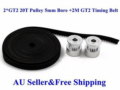 2Pcs GT2 20T 5mm Bore 6mm width Pulley+2M GT2 Timing Belt For 3D Printer Reprap