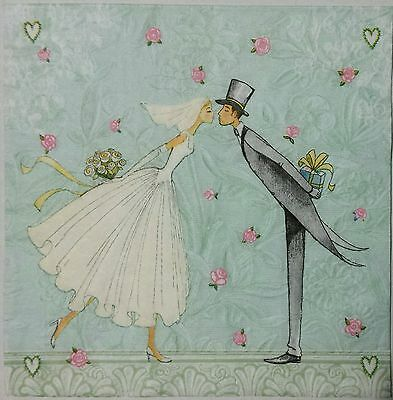 EMBOSSED WEDDING KISS 2 individual LUNCH SIZE paper napkins for decoupage 3-ply