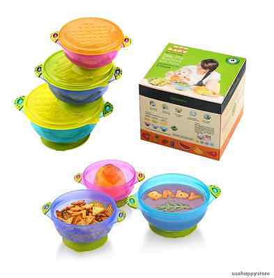 Baby Suction Bowl Set Snap Lids Feeding Kids Children Toddler Tableware BPA Free