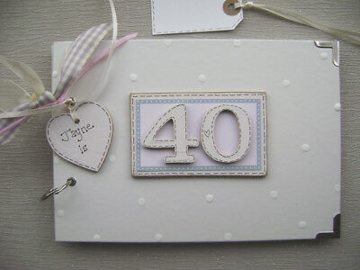 PERSONALISED 40th  birthday .A5  SIZE PINK  PHOTO ALBUM/SCRAPBOOK/MEMORY BOOK.