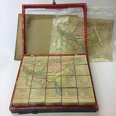 Antique 19th Century French Block Puzzle A Logerot Editeur 20 Cubes Loose Map