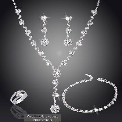 Wedding Jewelry Set Bridal Jewellery Crystals Necklace Earring Bracelet Ring NEW