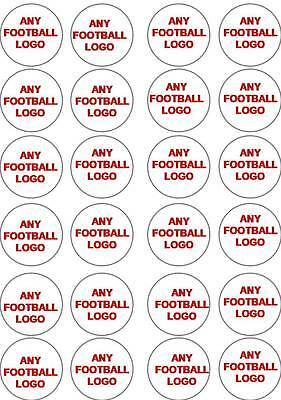 24 ANY FOOTBALL LOGO BADGE Edible Cup Cake Topper Icing Or Wafer Party