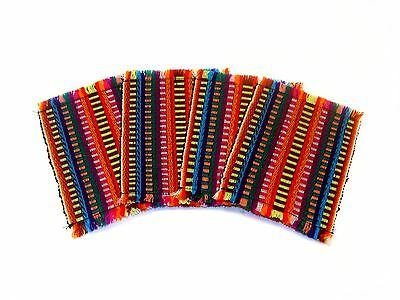 #1314 Four Woven Multicolored Cotton Coasters Wholesale Pack Lot Pack From Peru