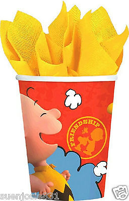 Peanuts Charlie Brown 9oz Hot Cold Paper Cups 8ct Party Supplies