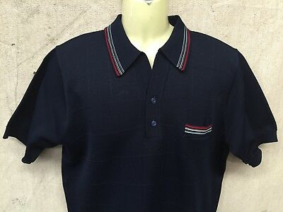 Vintage RETRO SHORT SLEEVE Polyester POLO SHIRT MOD Hipster ROCKABILLY Gangster