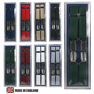 25mm 1 Inch Mens Plain  Braces Heavy Duty Suspenders Adjustable Made In England