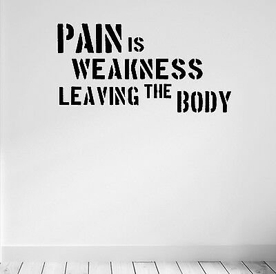 Pain is Weakness Gym Motivational Wall Decal Quote Strength Fitness Workout Home