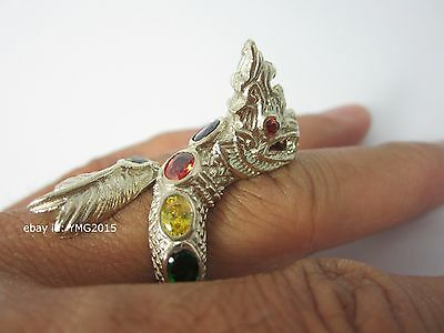 """Twist NAGA SNAKE"" Alpacca Ring with Gem of Thai Powerful Amulet & Collectible"