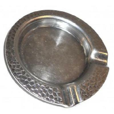 Vintage Heavy Nickel Plated Brass Arts & Crafts Hammered Ashtray