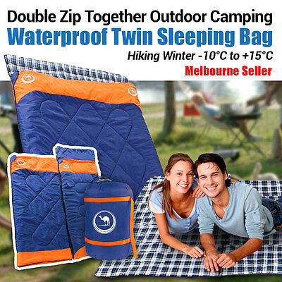 Double Outdoor Camping Envelope Twin Sleeping Bag Thermal Hiking Winter -20°C OZ