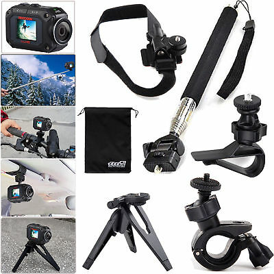 EEEKit Accessories Kit for JVC Adixxion GC-XA2 XA1 Monopod+Tripod+Helmet Mount