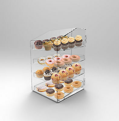Acrylic Perspex Bakery Display Case 4 Tray Donuts Muffins Pastries Cafes Cookie