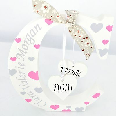New Baby ~ Christening Personalised Wooden Letters with Hanging Hearts ~ Newborn