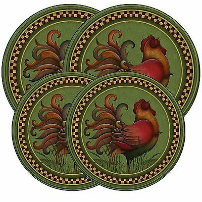 Electric Stove Top Range Round Angela Anderson's Rooster Design Covers Set of 4