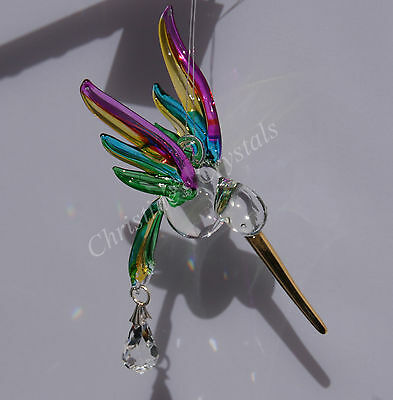 Hand Crafted TROPICAL Fantasy Glass HUMMINGBIRD Crystal Rainbow Maker Suncatcher