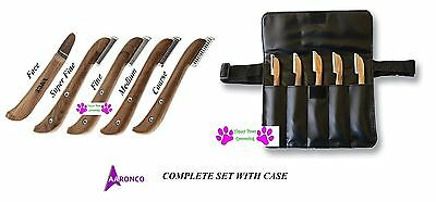 Genuine AARONCO Pro Stripping Knives 5 pc KNIFE SET w/Case DOG Grooming Carding