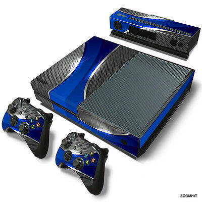 Xbox One Console Skin Decal Sticker Blue & Chrome Series + 2 Controller Skins