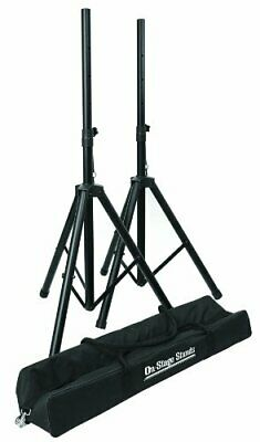 """NEW On Stage SSP7750 Compact Speaker Aluminum Stand Pack 37"""" to 60"""" + Carry Bag"""