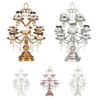 12 PIECE CUPCAKE STAND Metal Crystal Pendant Tower Wedding Party Display 3 Tier