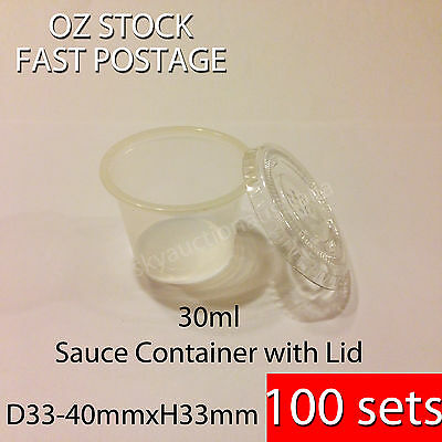 100sets x 30ml Party Take Away Disposable Sauce Container Clear Plastic with Lid