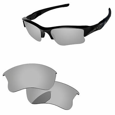 Silver Chrome Mirror Polarized Replacement Lenses For-Oakley Flak Jacket XLJ