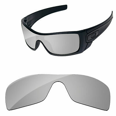 Silver Chrome Mirror Polarized Replacement Lenses For-Oakley Batwolf Sunglasses