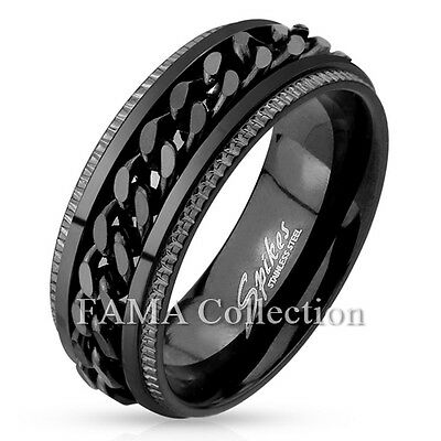 FAMA Stainless Steel Black IP Grooved Edge Center Chain Spinner Ring Size 9-14