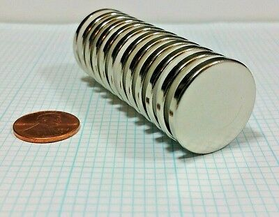 """12 Neodymium N52 Disc magnets. Super Strong Rare Earth. 1"""" x 1/8"""" Craft Neo"""
