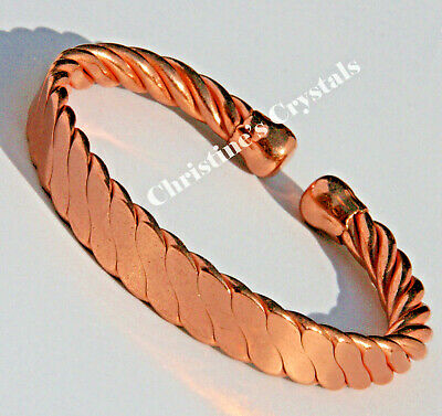 MAGNETIC Solid Copper TWISTED ROPE Bracelet Healing Arthritis Pain Relief (M23)
