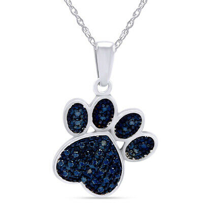 Blue Diamond Accent Paw Print Necklace Solid 14k White Gold