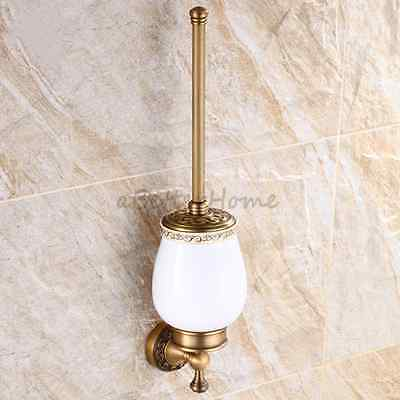 Lux Bathroom Solid Brass Antique Wall Mount Ceramic Cup Toilet Brush Holder Set