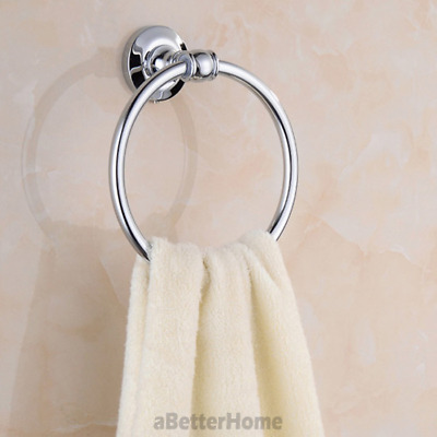 Modern Simple Style Round Towel Ring Rack Chrome Brass Wall Mount Clothes Hanger