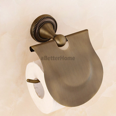 Wall Mount Vintage Antique Bronze Bathroom Toilet Paper Holder Roll Tissue Shelf