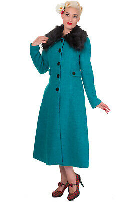 Womens New Banned Wool Vintage 1940s 1950s Style Winter Faux Fur Coat Size 8-22