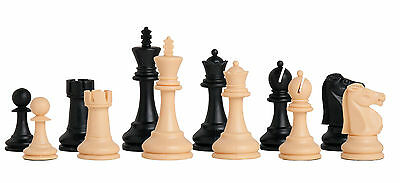 """USCF Sales The Reykjavik Plastic Chess Set - Pieces Only - 3.75"""" King - Black &"""