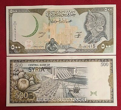 SYRIA 500 Pounds 1998 # P-110a without map!!  UNC