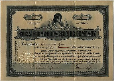 1901 The Auto Manufacturing Company Stock Certificate