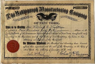 1880's Hektograph Manufacturing Company Stock Certificate N.Y