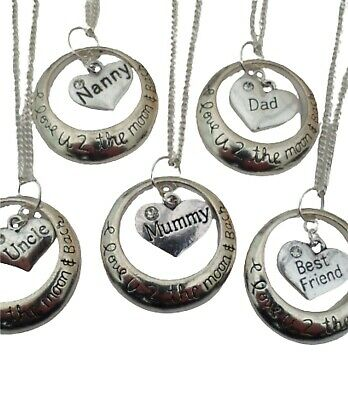 925 STERLING SILVER NECKLACE I LOVE YOU TO THE MOON & BACK Family Charm Pendant