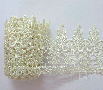 Vintage Flower Embroidered Lace Edge Trim Ribbon Bridal Applique Sewing Craft