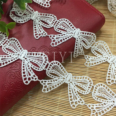 Vintage Butterfly Bow Lace Trim Bridal Wedding Ribbon Applique Sewing Craft DIY