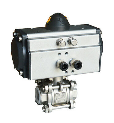 3/4 Inch 3-Pieces Pneumatic Actuated Ball Valve Pneumatic Stainless Ball Valve