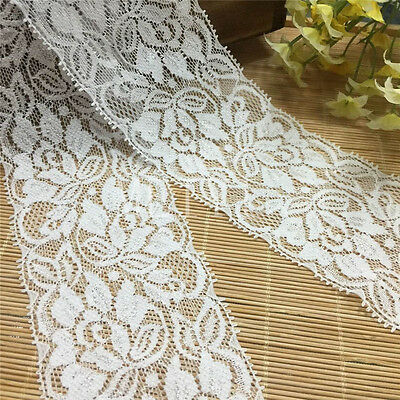 1/5/10 Yards Vintage White Stretch Flower Lace Trim Ribbon Wedding Sewing Craft
