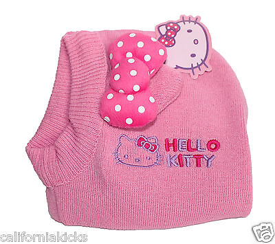SANRIO Hello Kitty Toddler Knit Balaclava One Size Fits Pink Hoodie Beanie Scarf