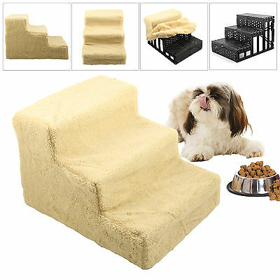 Folding 3 Steps Dog Cat Doggy Pet Stairs Ramp Ladder Washable Soft Plush Cover